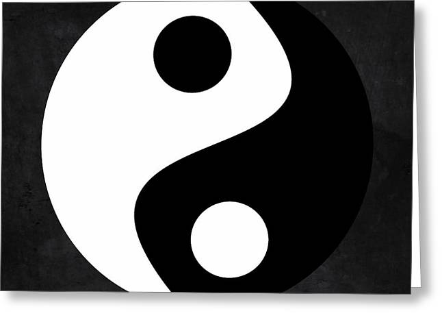 Yin And Yang - Black And White, Grey Greeting Card by Marianna Mills
