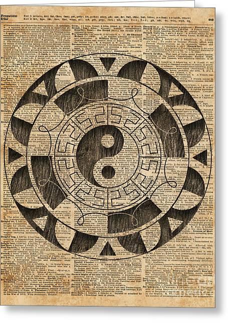 Yin And Yang Symbol Taijitu Mandala Vintage Dictionary Art Greeting Card by Jacob Kuch