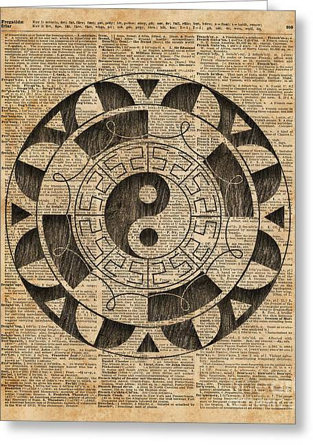 Yin And Yang Symbol Taijitu Mandala Vintage Dictionary Art Greeting Card