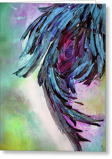Yin - Dark Feathers Abstract Painting Greeting Card by Soos Roxana Gabriela