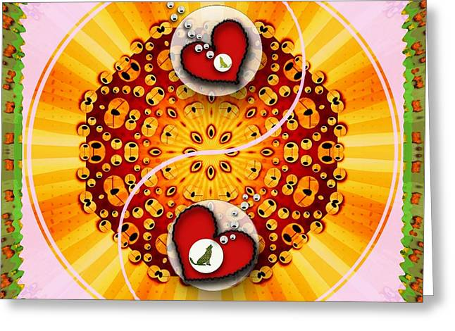 Yin Yang And The Dogs Sings Of Love Greeting Card