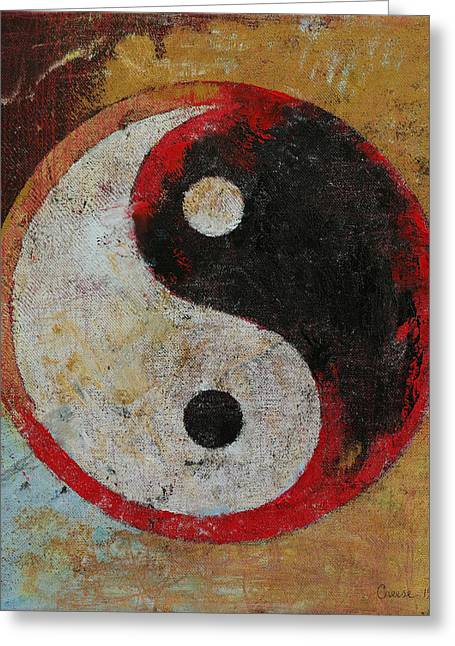 Yin Yang Red Dragon Greeting Card by Michael Creese