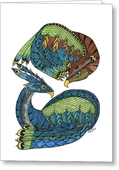 Yin Yang Dragons Greeting Card