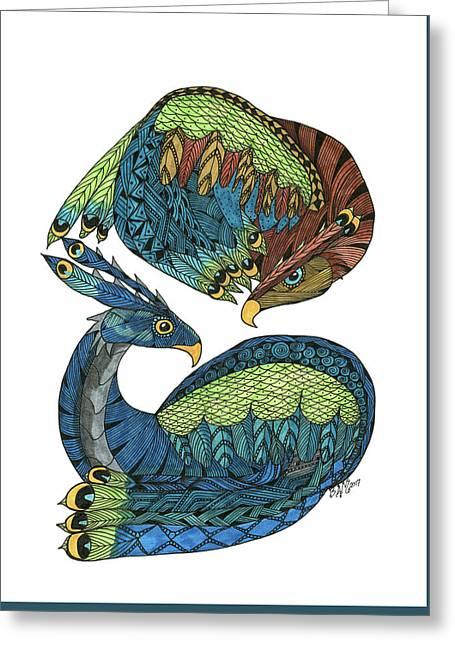 Greeting Card featuring the drawing Yin Yang Dragons by Barbara McConoughey