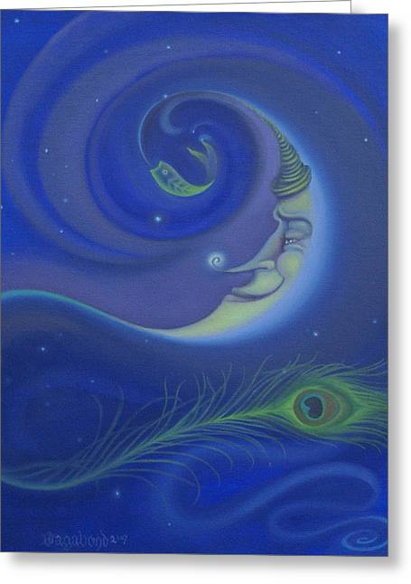 Yin Yang Moon Greeting Card
