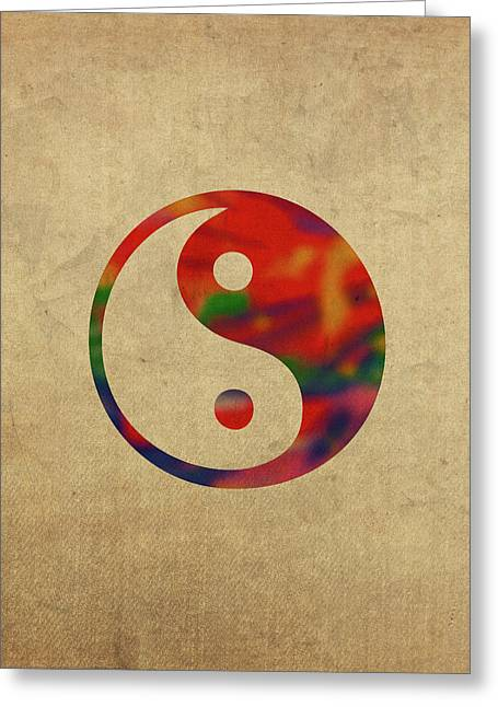 Yin Yang Symbol In Watercolor Greeting Card