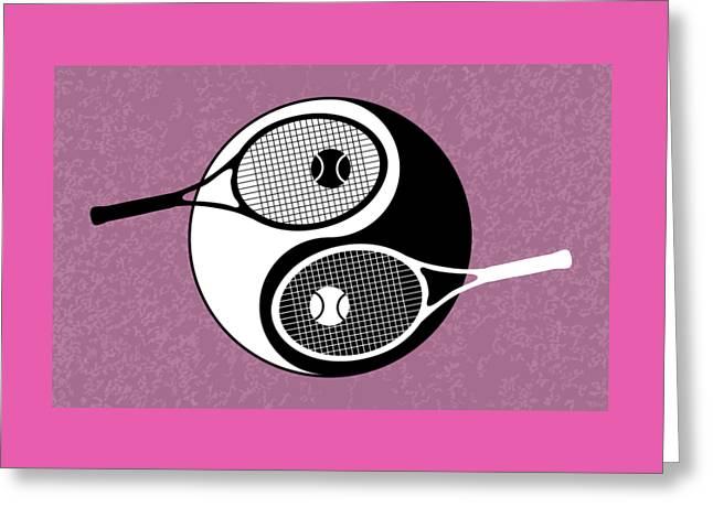 Yin Yang Tennis Greeting Card by Carlos Vieira