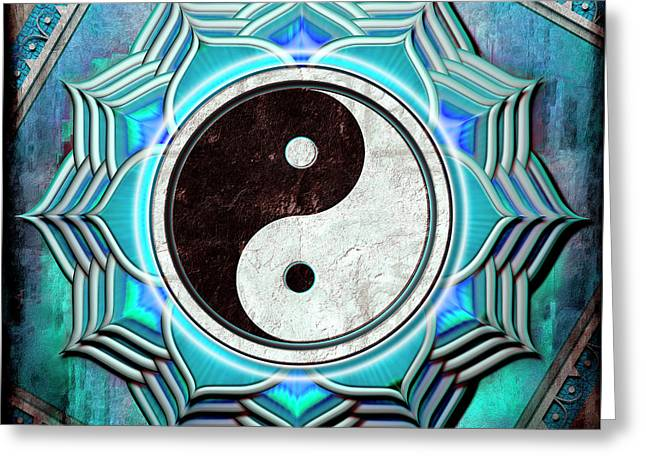 Yin Yang -  The Healing Of The Blue Chakra Greeting Card