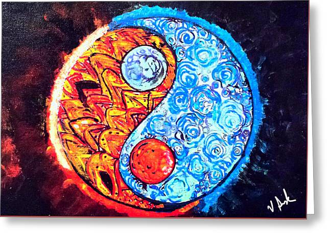 Ying And Yang Universe  Greeting Card by Vanessa Sisk