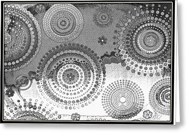 Yingyang Life Swirl Bw Greeting Card by Diann Fisher