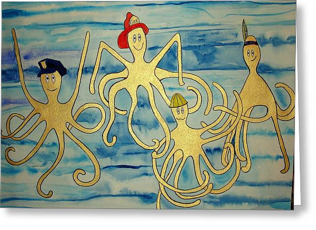 Greeting Card featuring the painting Ymca Octopai by Erika Swartzkopf