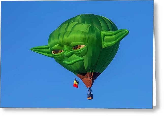 Yoda Hot Air Balloon Greeting Card by Garry Gay