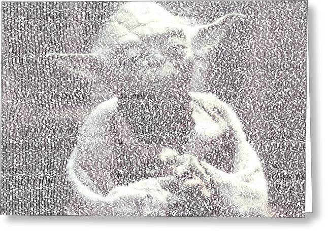 Yoda Quotes Mosaic Greeting Card by Paul Van Scott