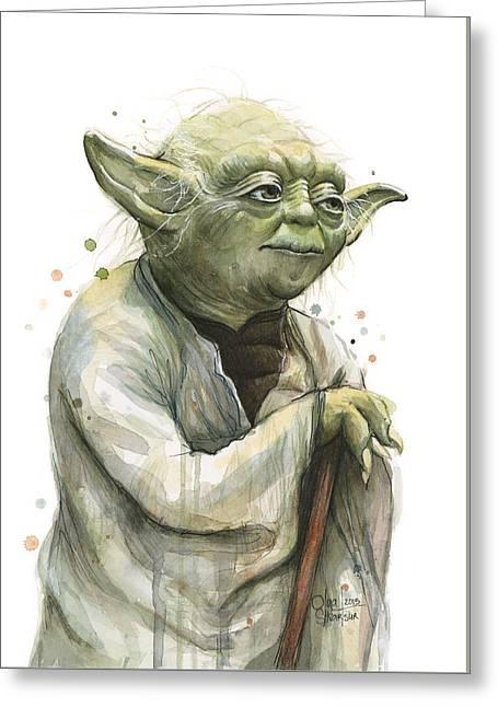 Yoda Watercolor Greeting Card