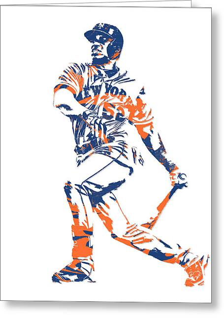 Yoenis Cespedes New York Mets Pixel Art 4 Greeting Card