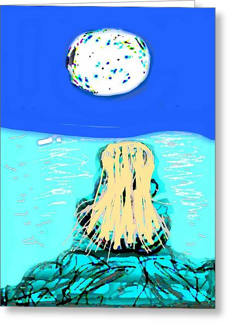 Yoga By The Sea Under The Moon Greeting Card