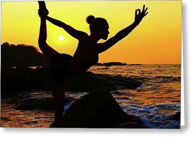 Yoga Dancer Greeting Card by Christopher Christoforou