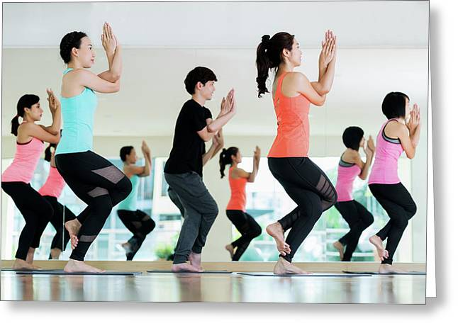 Yoga Group In Class Room In Fitness Center Greeting Card