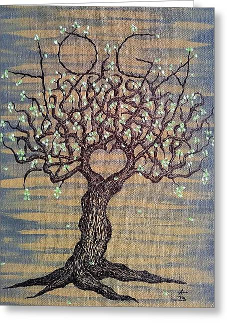 Greeting Card featuring the drawing Yoga Love Tree by Aaron Bombalicki