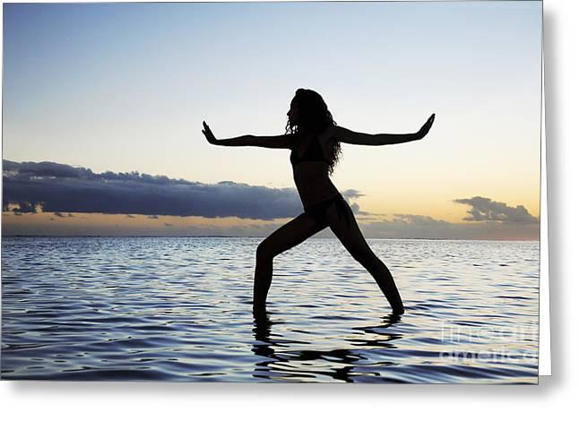 Yoga On The Coastline Greeting Card by Brandon Tabiolo - Printscapes