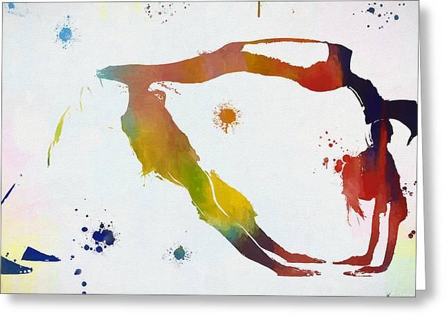 Yoga Paint Splatter Balanced Greeting Card