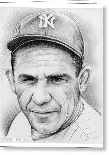 Yogi Berra Greeting Card by Greg Joens