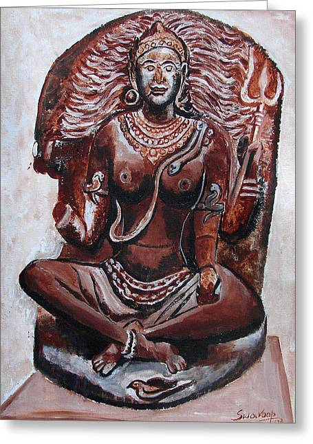 Greeting Card featuring the painting Yogini by Anand Swaroop Manchiraju