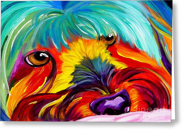 Alicia Vannoy Call Paintings Greeting Cards - Yorkie - Dreaming of Biscuits Greeting Card by Alicia VanNoy Call