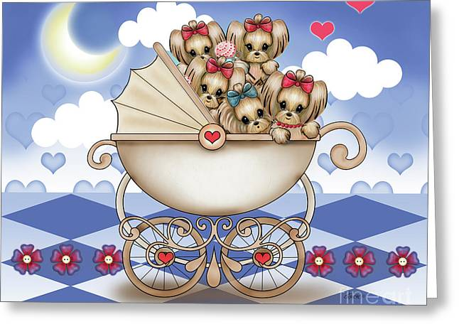 Yorkie Babies Strolling  Greeting Card by Catia Cho