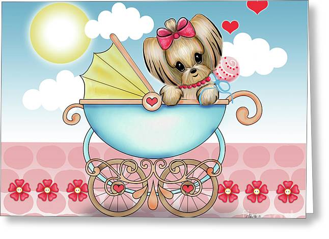 Yorkie Baby Strolling  Greeting Card by Catia Cho