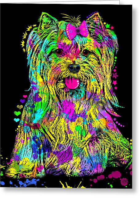 Puppies Digital Greeting Cards - Yorkie Beauty Greeting Card by Zaira Dzhaubaeva