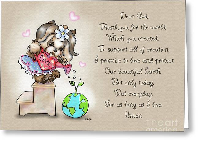 Yorkie Earth Day Prayer Greeting Card by Catia Cho