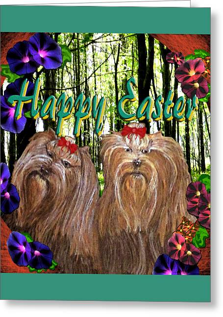 Greeting Card featuring the digital art Yorkie Easter by Michelle Audas