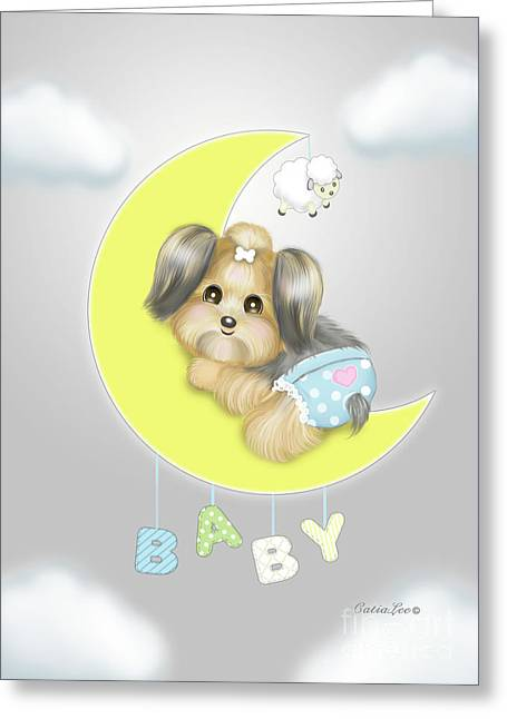 Greeting Card featuring the painting Yorkie Fofa Baby by Catia Lee