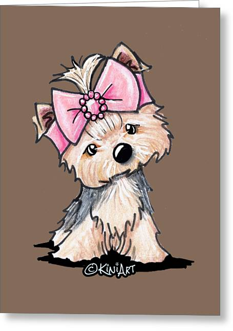 Yorkie In Bow Greeting Card