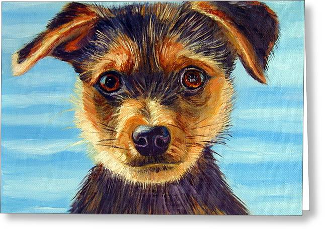 Yorkie Little Swimmer Greeting Card by Lyn Cook