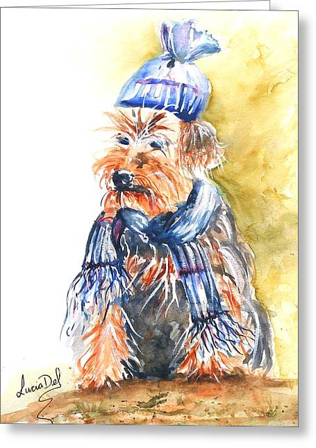 Yorkie Greeting Card by Lucia Del