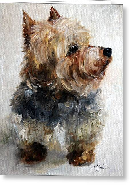 Yorkie Greeting Card by Mary Sparrow