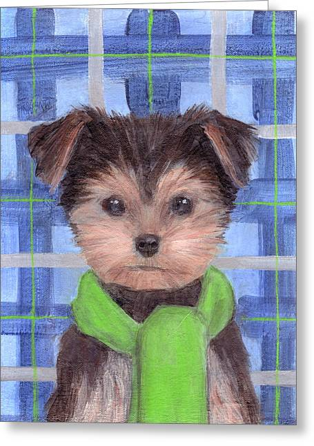 Yorkie Poo With Scarf Greeting Card