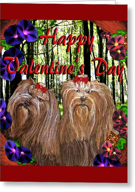Greeting Card featuring the digital art Yorkie Valentine Card by Michelle Audas