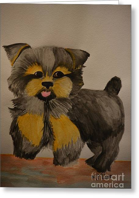 Yorkie Youth Greeting Card by Maria Urso