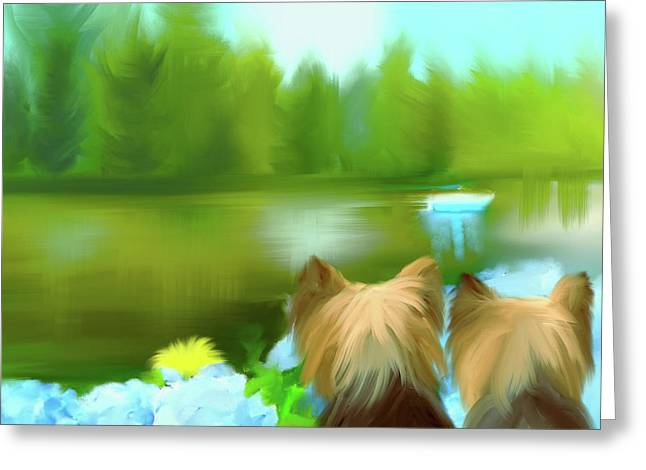 Yorkies At The Lago Negro Greeting Card by Catia Cho