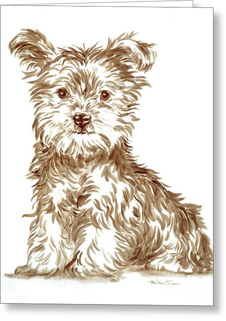 Yorkshire Puppy Greeting Card by Meridith Martens