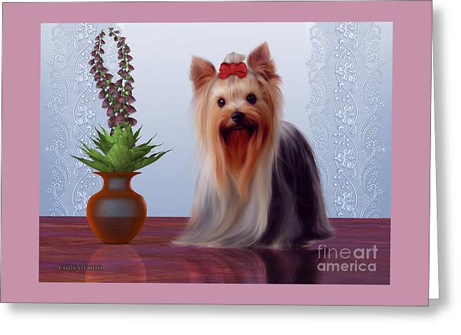 Yorkshire Terrier Greeting Card by Corey Ford