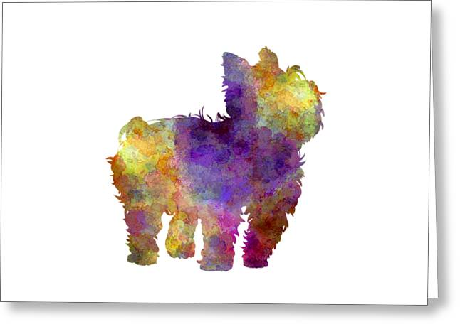 Yorkshire Terrier In Watercolor Greeting Card by Pablo Romero