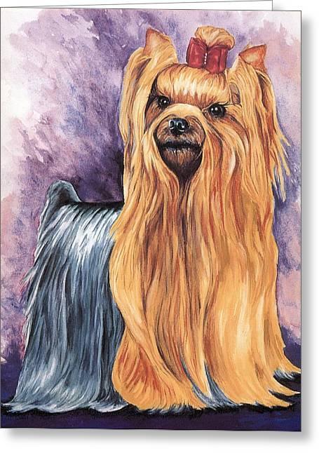 Yorkshire Terrier Greeting Card by Kathleen Sepulveda