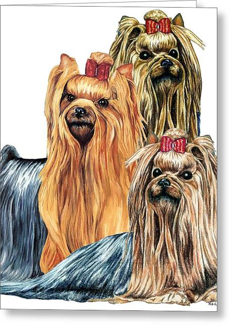 Yorkshire Terriers Greeting Card by Kathleen Sepulveda