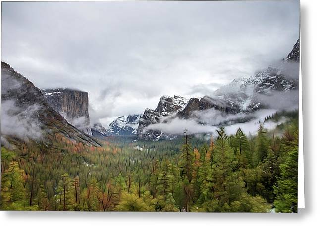 Yosemite And El Capitan In Winter Greeting Card