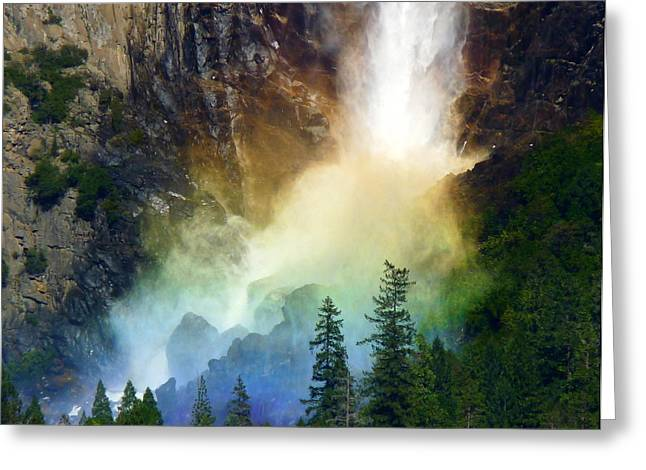 Yosemite Bridalveil Fall Rainbow Greeting Card