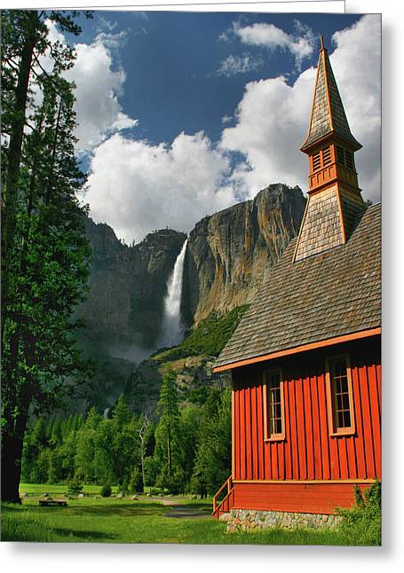 Yosemite Chapel Greeting Card by Tom Kidd